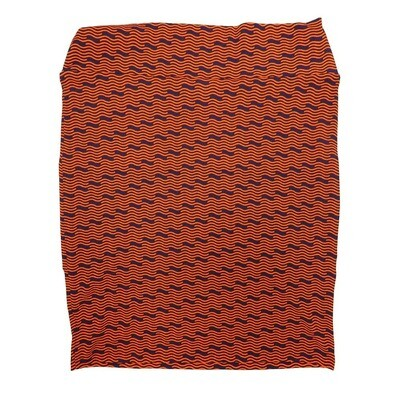Cassie XXX-Large (3XL) LuLaRoe Wavy Stripe Zig Zag Black Orange Womens Knee Length Pencil Skirt Fits 24-26