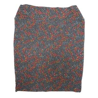 Cassie XXX-Large (3XL) LuLaRoe Geometric Polka Dot Dark Blue Maroon Yellow Womens Knee Length Pencil Skirt Fits 24-26