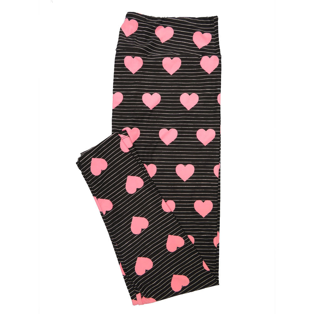 LuLaRoe One Size OS Blue Pink Hearts Valentines Stripe Leggings (OS fits Adults 2-10)