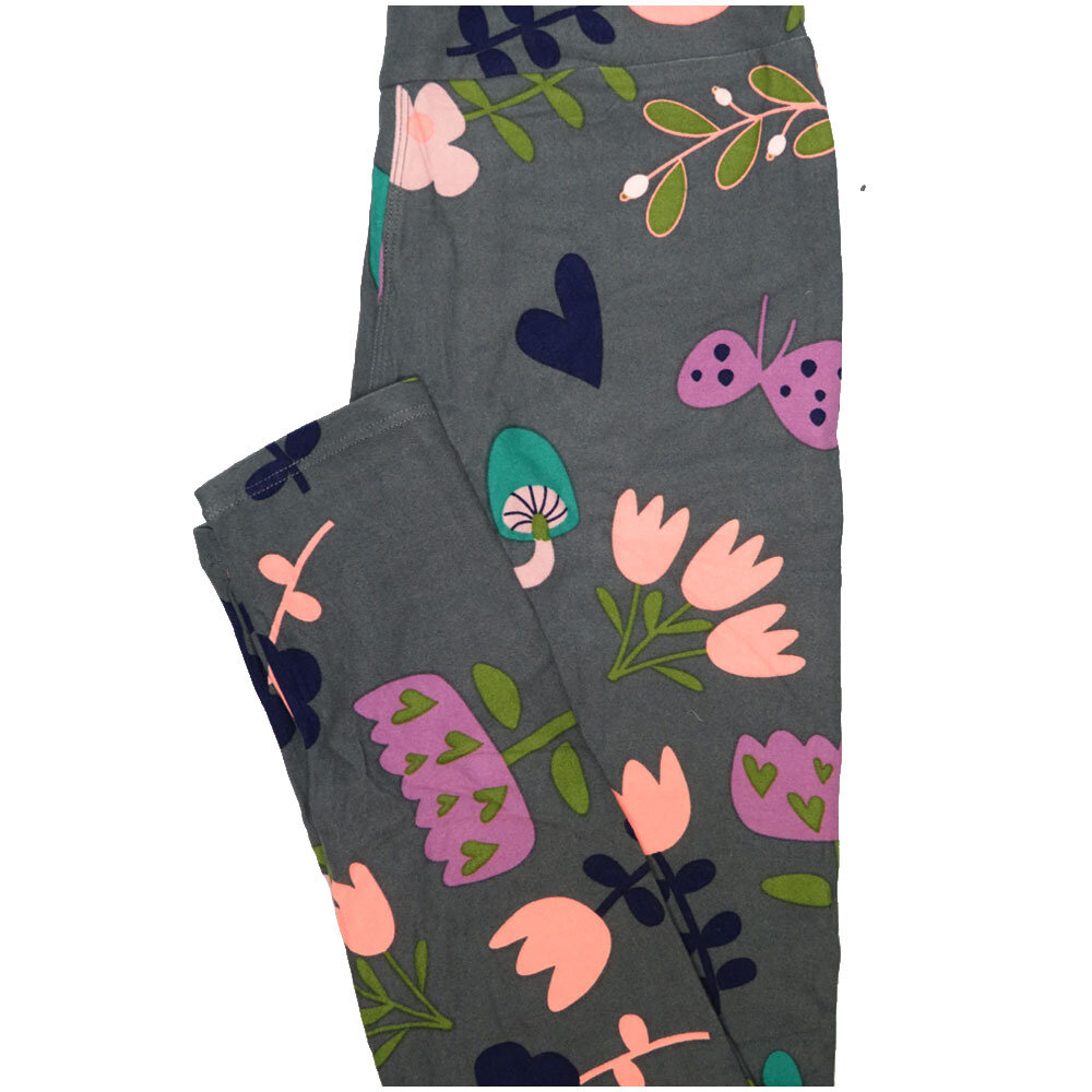 LuLaRoe One Size OS Buttefly Mushroom Tulip Floral Hearts Gray Navy Green Leggings (OS fits Adults 2-10)