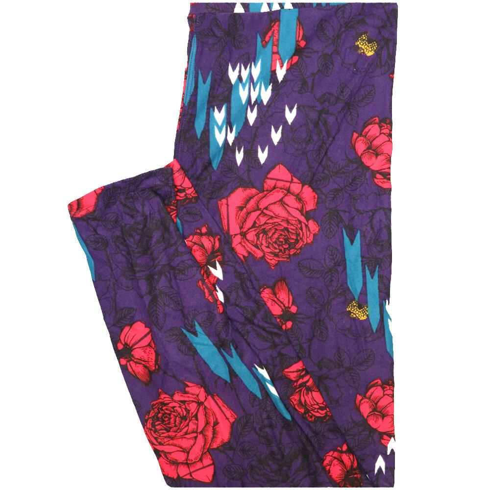 LuLaRoe One Size OS Roses Chevron Purple Red White Black Leggings (OS fits Adults 2-10)