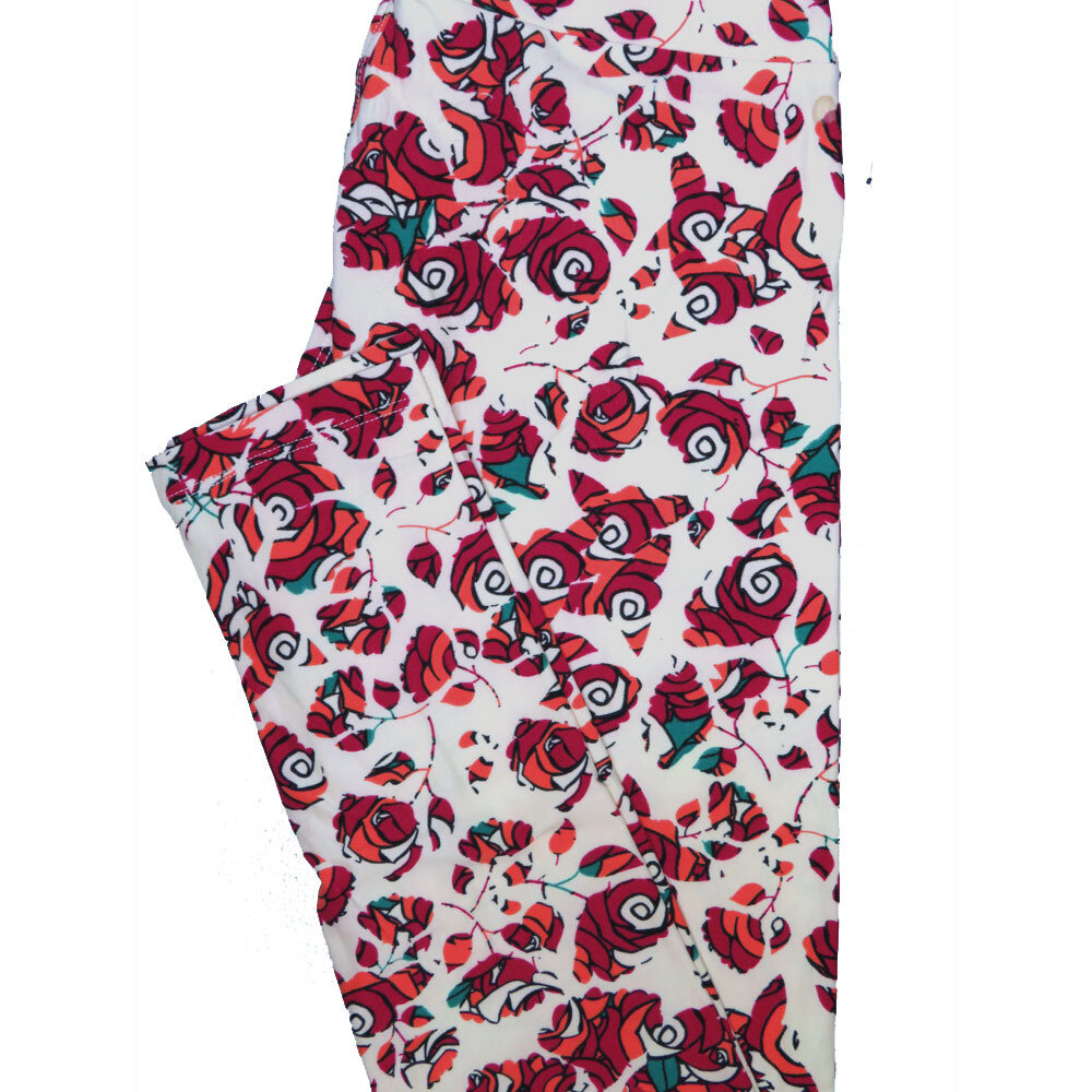 LuLaRoe One Size OS Roses White Red Pink Leggings (OS fits Adults 2-10)