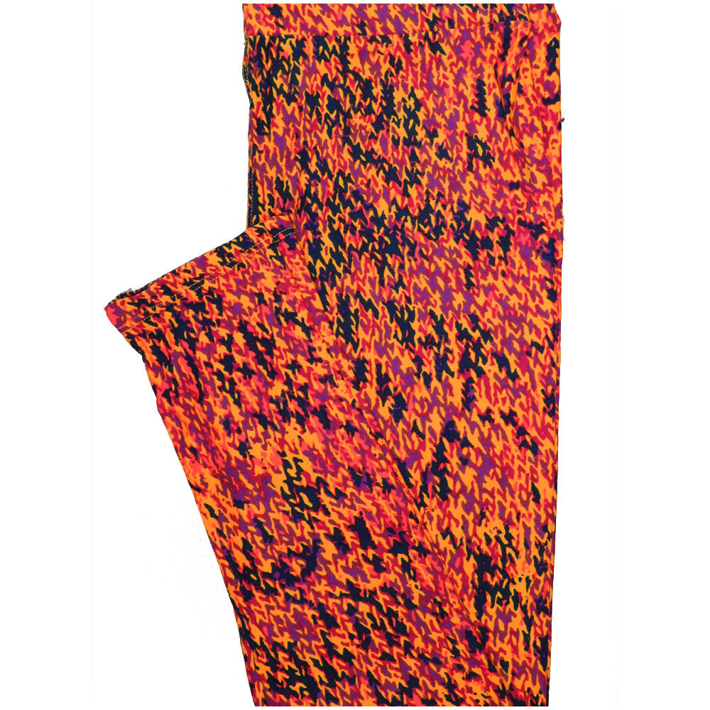 LuLaRoe One Size OS Abstract Geometric Black Orange Pink Leggings (OS fits Adults 2-10)