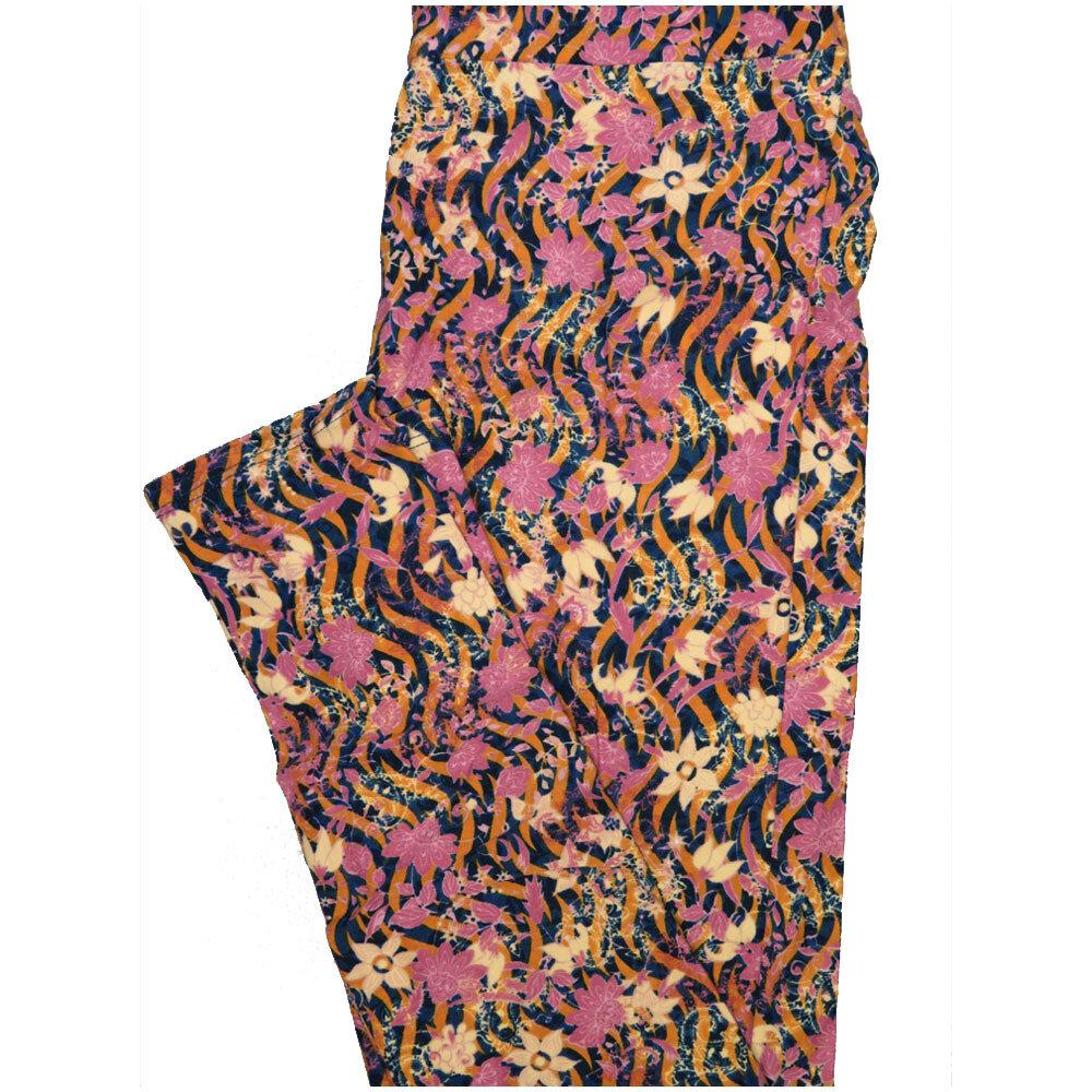 LuLaRoe One Size OS Wavy Stripe Floral Black Lavender Green Leggings (OS fits Adults 2-10)
