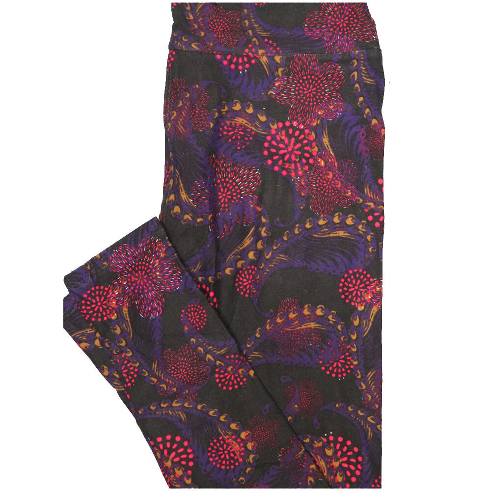 LuLaRoe One Size OS Paisley Black Blue Pink Floral Leggings (OS fits Adults 2-10)