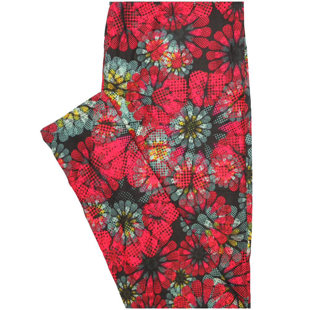 LuLaRoe One Size OS Pink Blue White Red Floral Leggings (OS fits Adults 2-10)