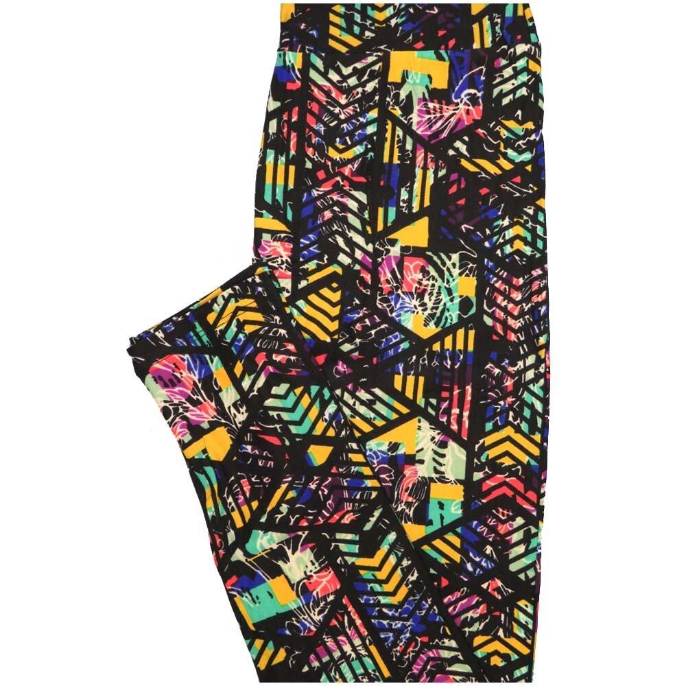 LuLaRoe One Size OS Floral Black Yellow Blue Geometric Leggings (OS fits Adults 2-10)