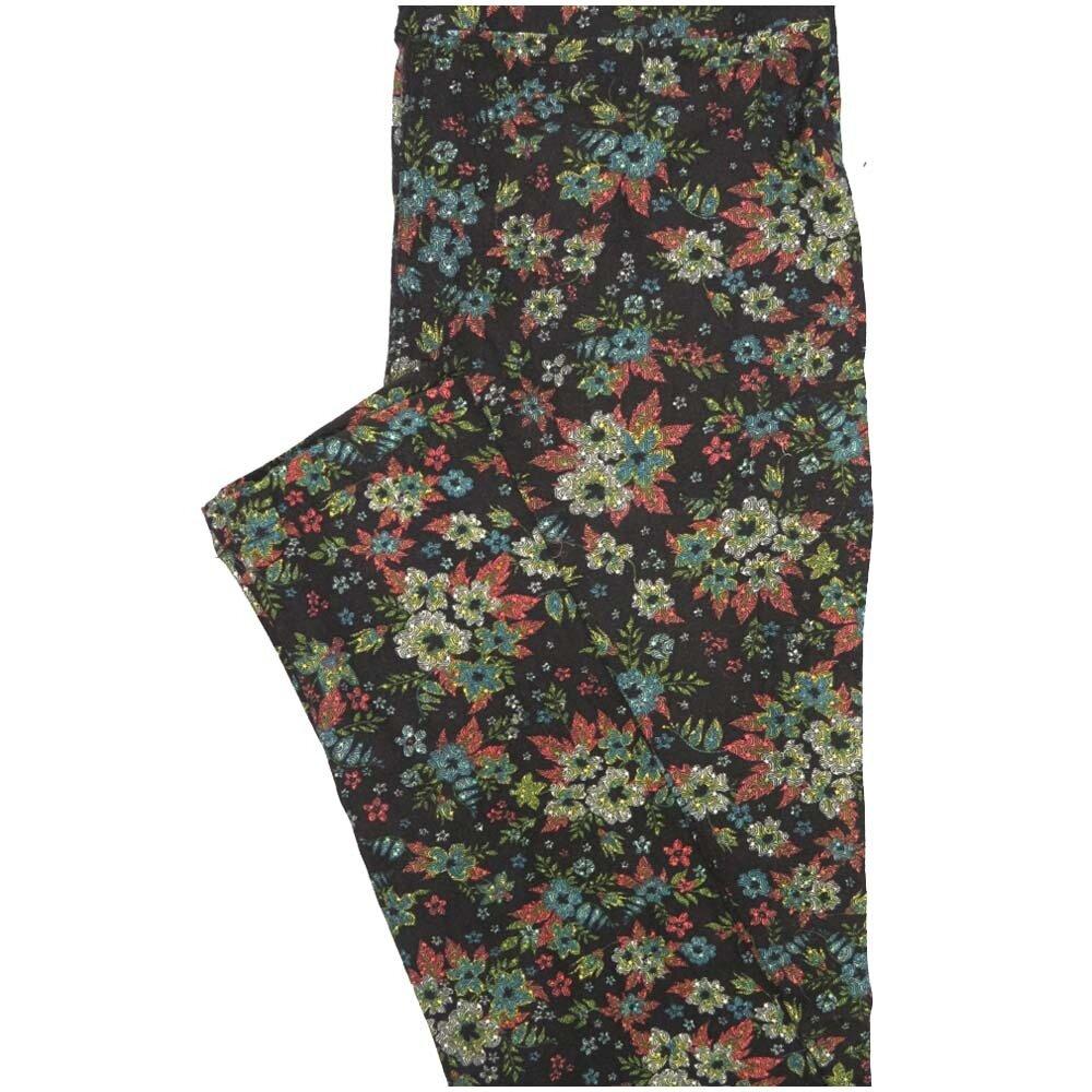 LuLaRoe One Size OS Floral Black Blue Pink Leggings (OS fits Adults 2-10)
