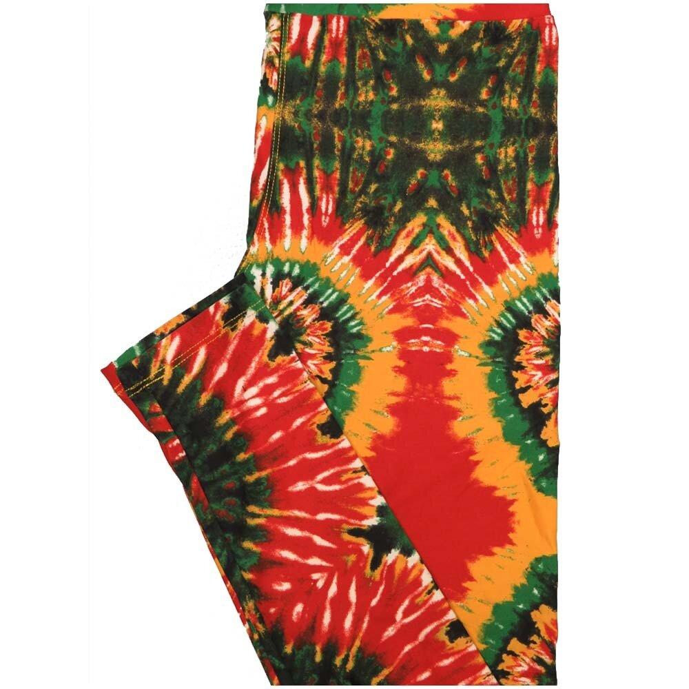 LuLaRoe One Size OS Tye Dye Geometric Red Yellow Green Leggings (OS fits Adults 2-10)