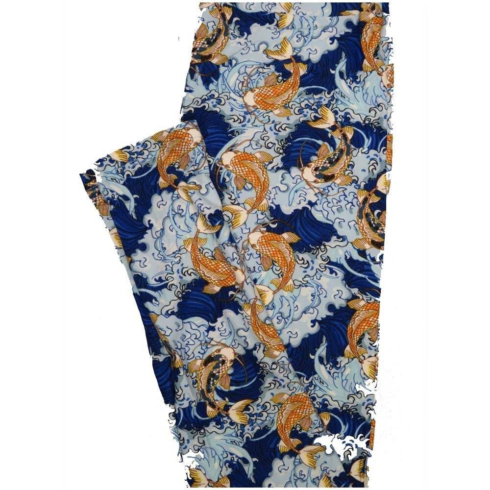 LuLaRoe One Size OS Koi Fish Pond Water Dark Blue Light Blue gold Leggings (OS fits Adults 2-10)