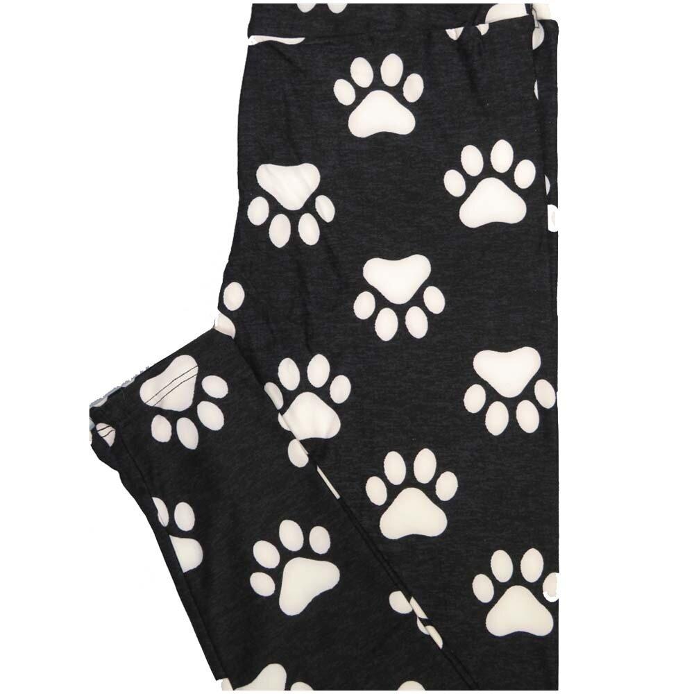 LuLaRoe One Size OS Paw Prints Dog Puppy Black White Leggings (OS fits Adults 2-10)