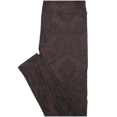 LuLaRoe One Size OS Paisley Floral Black on Black Valentines Leggings (OS fits Adults 2-10)