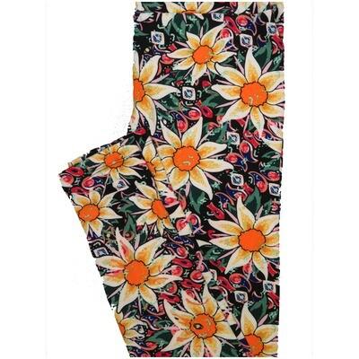 LuLaRoe One Size OS Paisley Floral Black Yellow Orange Green Leggings (OS fits Adults 2-10)