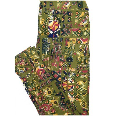 LuLaRoe One Size OS Paisley Geometric Olive Green Yellow Blue Leggings (OS fits Adults 2-10)