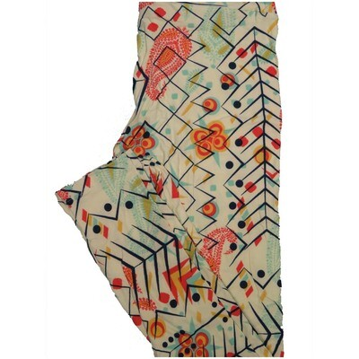 LuLaRoe One Size OS Paisley Floral Geometric Tan Orange Green Red Leggings (OS fits Adults 2-10)
