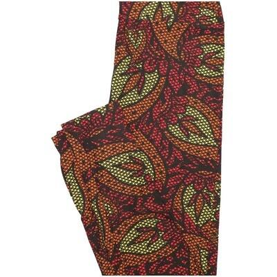 LuLaRoe One Size OS Paisley Leaves Floral Black Yellow Orange Pink Leggings (OS fits Adults 2-10)