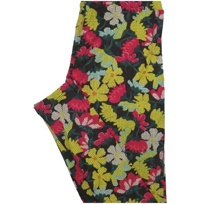 LuLaRoe One Size OS Parquet Floral Black Yellow White Pink Floral Leggings (OS fits Adults 2-10)