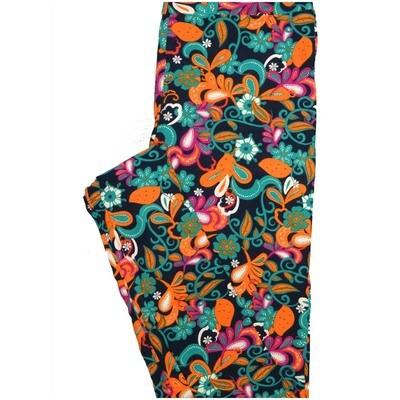 LuLaRoe One Size OS Paisley Floral Navy Orange Turquoise Leggings (OS fits Adults 2-10)