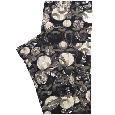 LuLaRoe One Size OS Paisley Pinwheel Mandala Floral Black Gray White Leggings (OS fits Adults 2-10)