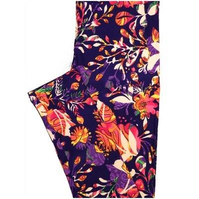 LuLaRoe One Size OS Paisley Floral Dark Purple Pink Orange Leggings (OS fits Adults 2-10)