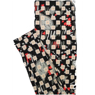 LuLaRoe One Size OS Polka Dot Squares Paisley Black Off White Gray Red Leggings (OS fits Adults 2-10)