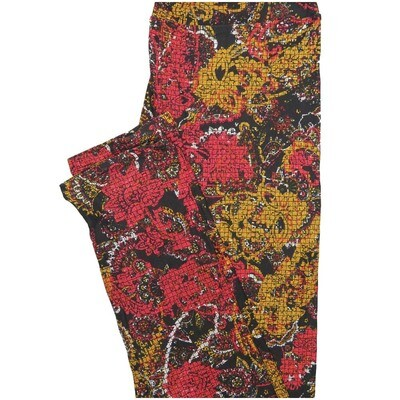 LuLaRoe One Size OS Paisley Roses Parquet Black Yellow Pink Leggings (OS fits Adults 2-10)