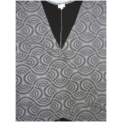 LuLaRoe Lindsay Kimono Gray Silver with Black Liner Scalloped Embossed Heavier Weight Made in USA 96% Polyester 4% Spandex Large fits 18-22