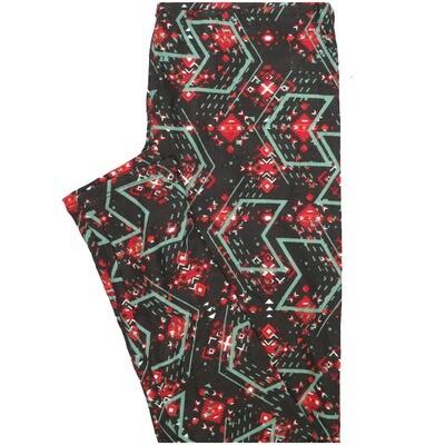 LuLaRoe One Size OS Chevron Black Gray Red Stripe Leggings (OS fits Adults 2-10)