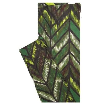 LuLaRoe One Size OS Herringbone Zig Zag Stripe Brown Green Yellow Leggings (OS fits Adults 2-10)