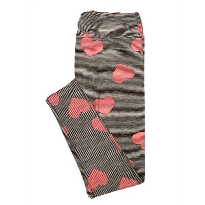 LuLaRoe One Size OS Black Red White Stripe Valentines Hearts Leggings (OS fits Adults 2-10)