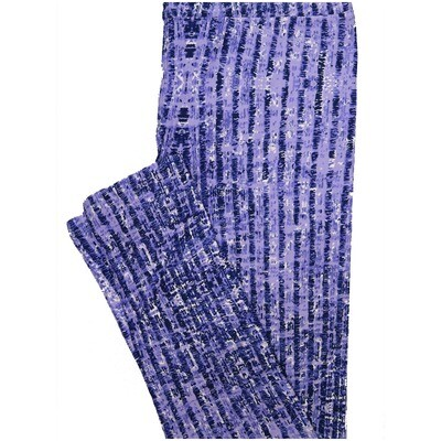 LuLaRoe One Size OS Lavender Navy White Stripe Leggings (OS fits Adults 2-10)