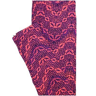 LuLaRoe One Size OS Pink Purple Wavy Stripe Leggings (OS fits Adults 2-10)