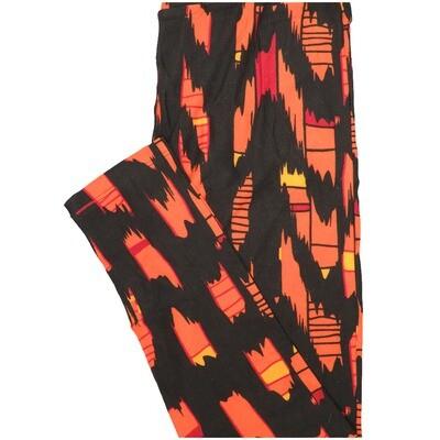 LuLaRoe One Size OS Zig Zag Stripe Black Orange Yellow Leggings (OS fits Adults 2-10)