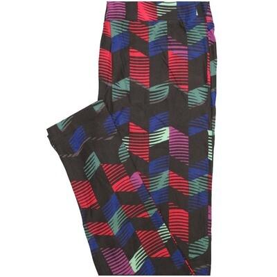 LuLaRoe One Size OS Stripe Black Purple Blue Pink Leggings (OS fits Adults 2-10)