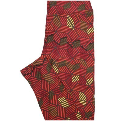 LuLaRoe One Size OS 3D Cube Stripe Red Yellow Leggings (OS fits Adults 2-10)
