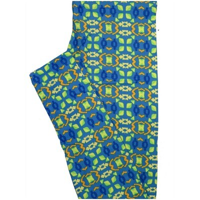 LuLaRoe One Size OS Stripe Geometric Blue Green Yellow Leggings (OS fits Adults 2-10)