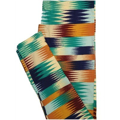 LuLaRoe One Size OS 70s Trippy Psychedelic Stripe Brown Blue Green Orange Leggings (OS fits Adults 2-10)