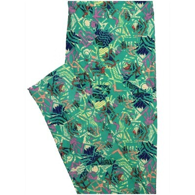 LuLaRoe One Size OS Chevron Floral Dark Teal Lavender Blue Yellow Leggings (OS fits Adults 2-10)