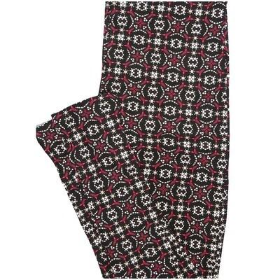 LuLaRoe One Size OS 70s Trippy Psychedelic Stripe Black Pink Orange Leggings (OS fits Adults 2-10)