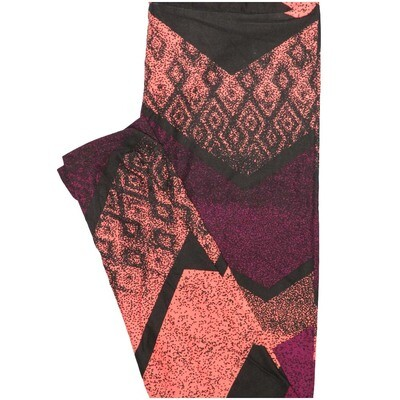 LuLaRoe One Size OS Zig Zag Stripe Black Pink Purple Leggings (OS fits Adults 2-10)