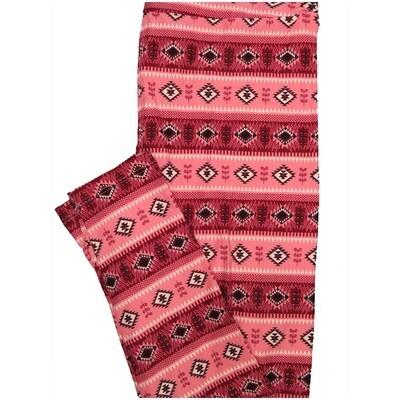 LuLaRoe One Size OS Southwestern Aztek Stripe Diamond Pink Leggings (OS fits Adults 2-10)