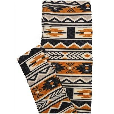 LuLaRoe One Size OS Aztek Southwestern Stripe Dark Gray Off White Orange Leggings (OS fits Adults 2-10)