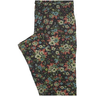 LuLaRoe One Size OS Floral Black Blue Pink Leggings (OS fits Adults 2-10)