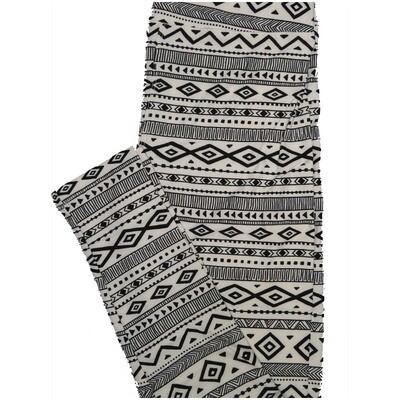 LuLaRoe One Size OS Black White Diamond Stripe Leggings (OS fits Adults 2-10)