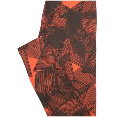 LuLaRoe One Size OS Geometric Black Orange Leggings (OS fits Adults 2-10)