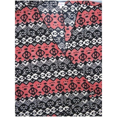 LuLaRoe Lindsay Large Black Red White Stripe Geometric Kimono Silky Light Weight Made in Vietnam 100% Polyester Large fits 18-22