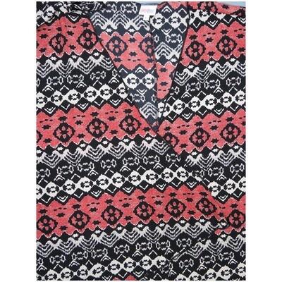 LuLaRoe Lindsay Large Black Red White Stripe Geometric Kimono Silky Light Weight Made in Vietnam 100% Polyester Large fits 18-22