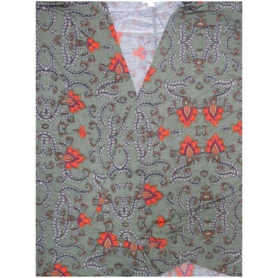 LuLaRoe Lindsay Large L Green Gray Coral Fleur de Lis Paisley Geometric Kimono Middle Weight Made in Vietnam 95% Polyester 5% Spandex Large fits 18-22