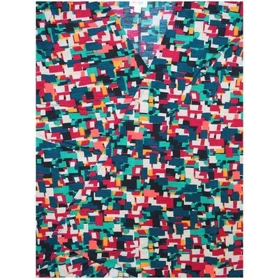 LuLaRoe Lindsay Large L Black Fucshia White Geometric Kimono Middle Weight Made in Vietnam 95% Polyester 5% Spandex Large fits 18-22