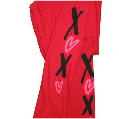 LuLaRoe One Size OS Solid Red with Black X and Pink Hearts on Calves Valentines Leggings (OS fits Adults 2-10)